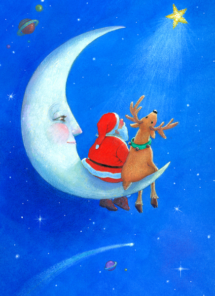"""Santa Moon"" Xmas Card for Portal Publications"