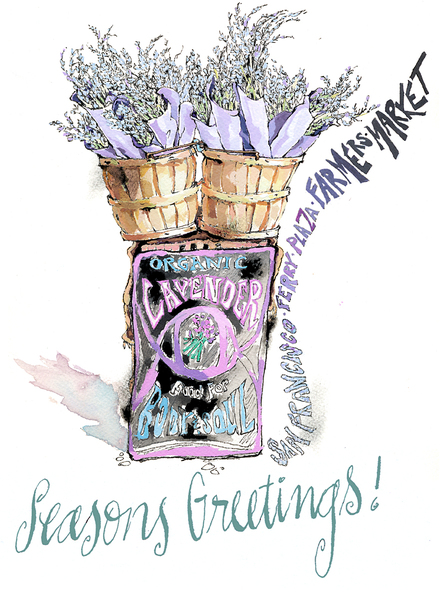 Lavender Stand Xmas Card