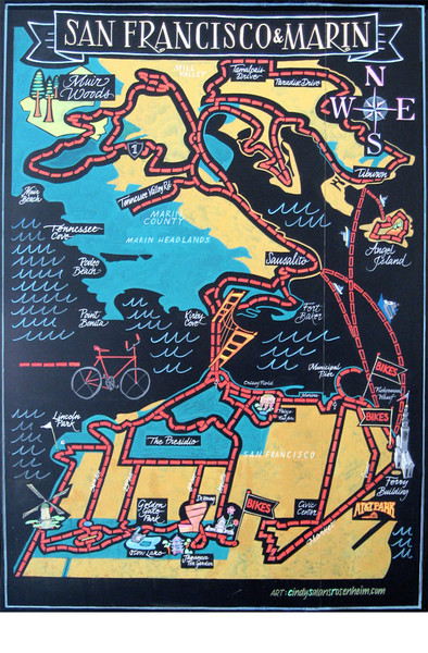 San Francisco/Marin Bicycle Route Map. Chalkboard. 8'