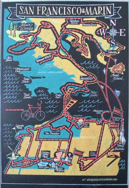 San Francisco/Marin Bicycle Route Map. Chalkboard.