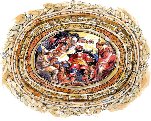 Ceiling Oculus, San Rocco, Venice. With apologies to Jacopo Tintoretto