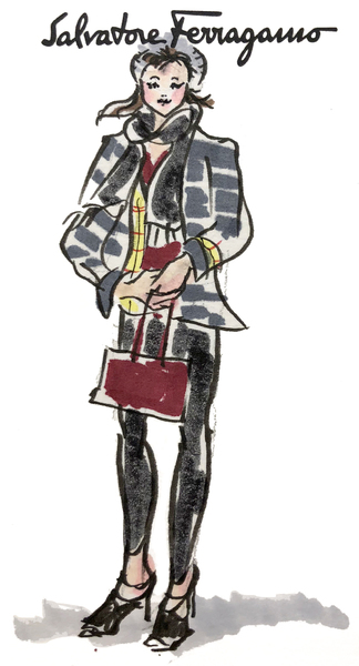 On-site fashion sketch of Ferragamo client
